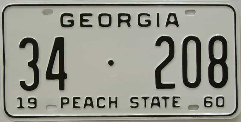 YOM RESTORED 1960 GA license plate for sale
