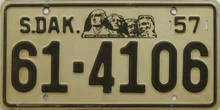 1957 South Dakota  (Single) license plate for sale