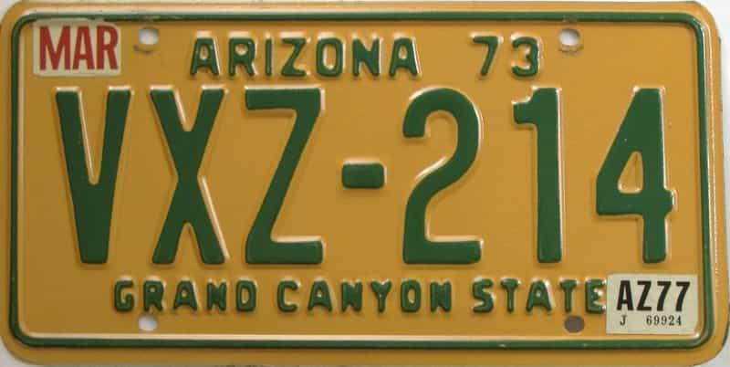 1977 Arizona (Natural Single) license plate for sale