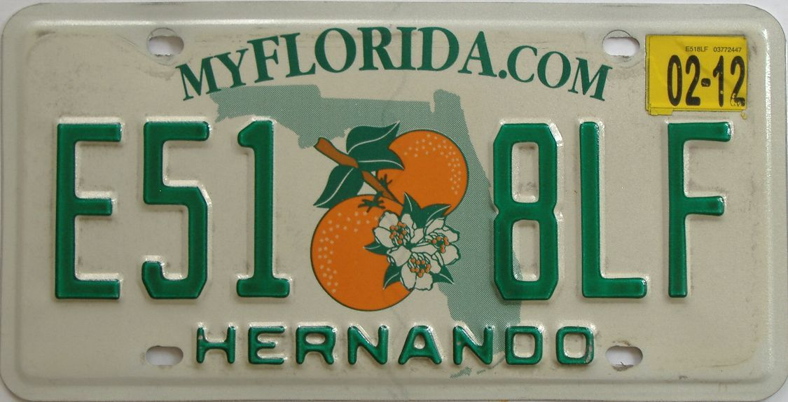 2012 Florida license plate for sale
