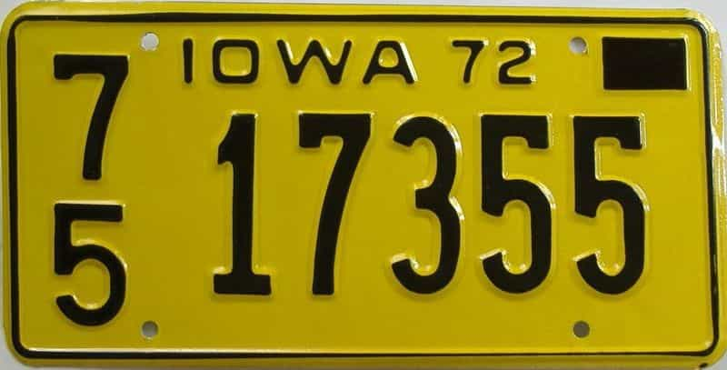 1972 Iowa  (Single) license plate for sale