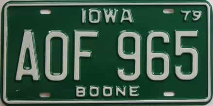 1979 Iowa  (Single) license plate for sale