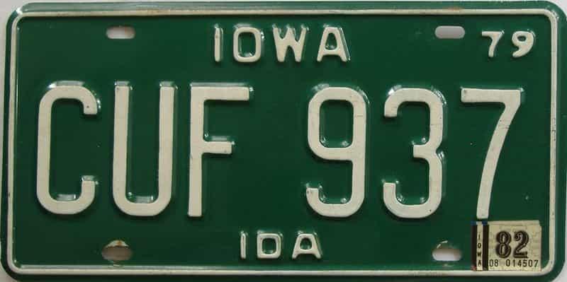 1982 Iowa  (Single) license plate for sale