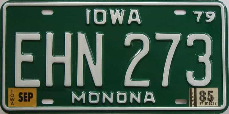 1985 Iowa (Single) license plate for sale