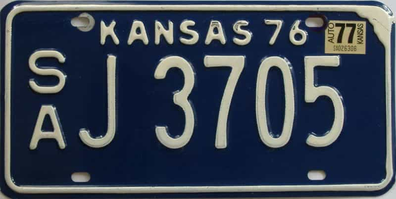 1977 Kansas license plate for sale