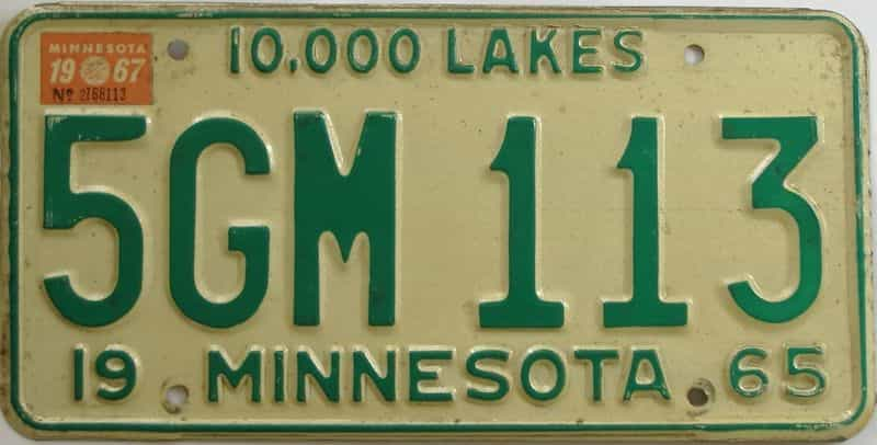 1967 MN (Single) license plate for sale