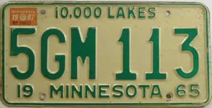 1967 Minnesota (Single) license plate for sale