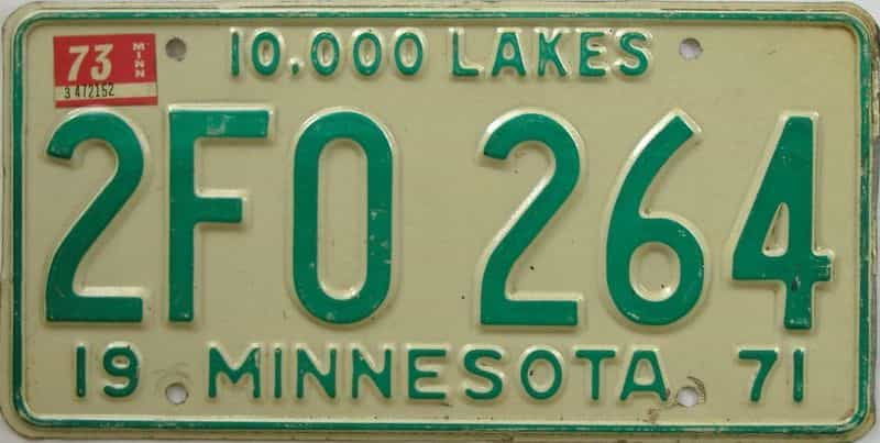 1973 MN (Single) license plate for sale