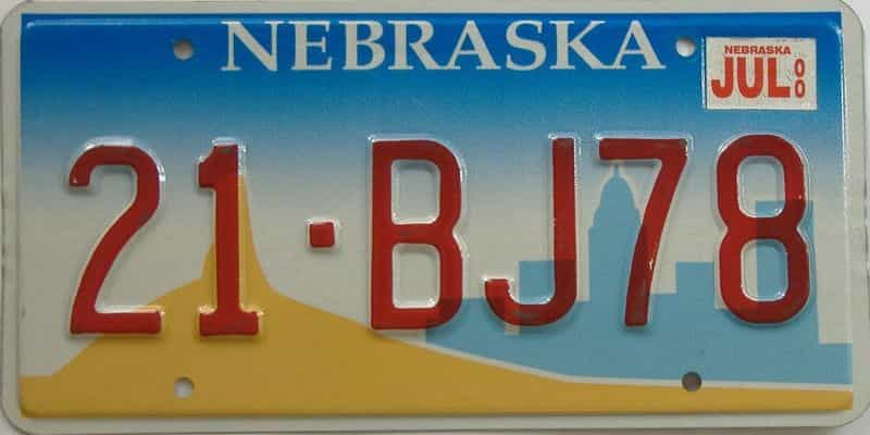 2000 NE (Single) license plate for sale