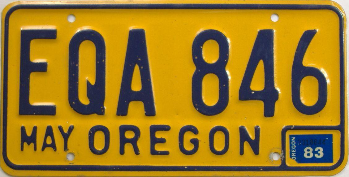 1983 Oregon (Natural Single) license plate for sale