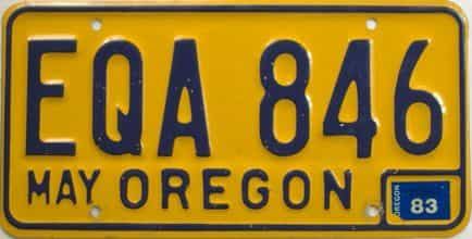 1983 Oregon (Natural Single) license plate for sale