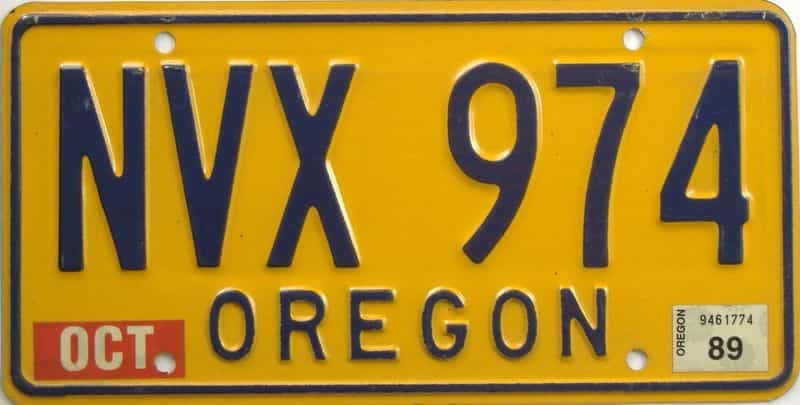 1989 OR (Natural Single) license plate for sale
