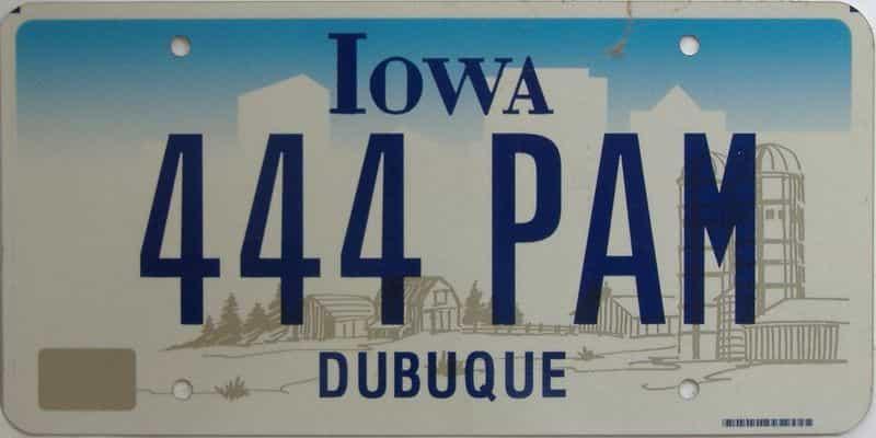 Iowa  (Single) license plate for sale