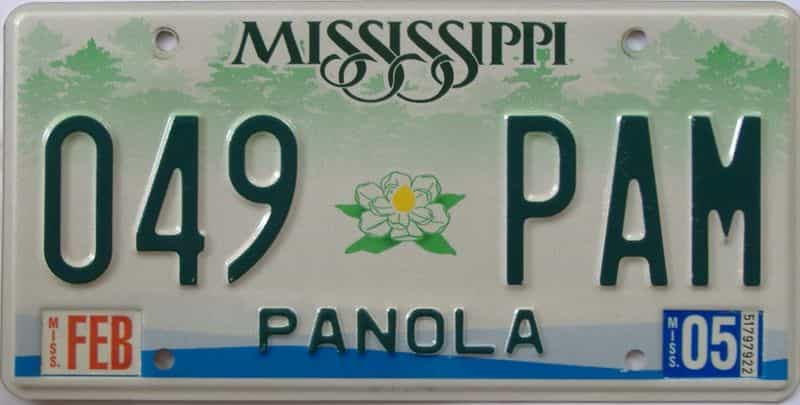 2005 Mississippi (Natural) license plate for sale