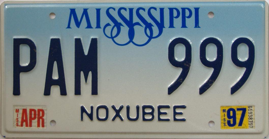 1997 Mississippi (Natural) license plate for sale