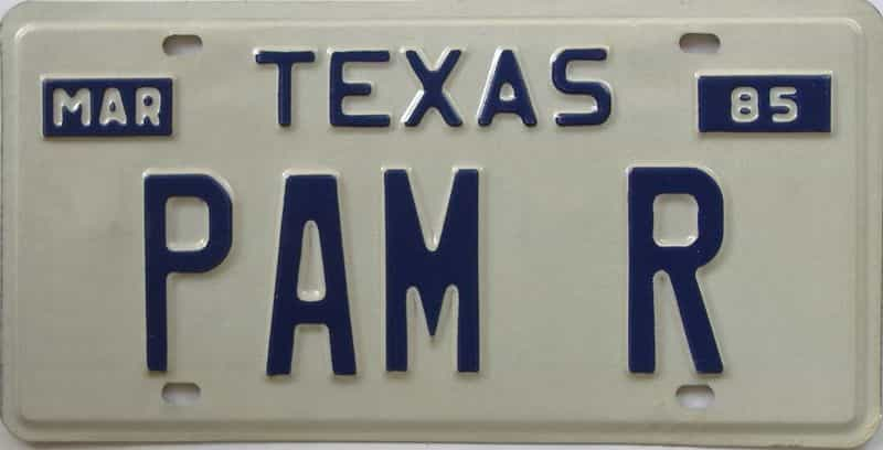 1985 Texas (Vanity) license plate for sale