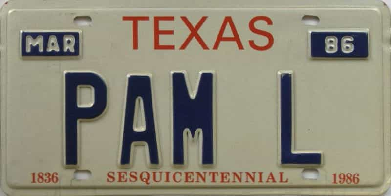 1986 Texas (Vanity) license plate for sale