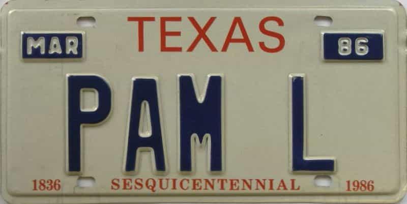 1986 TX (Vanity) license plate for sale