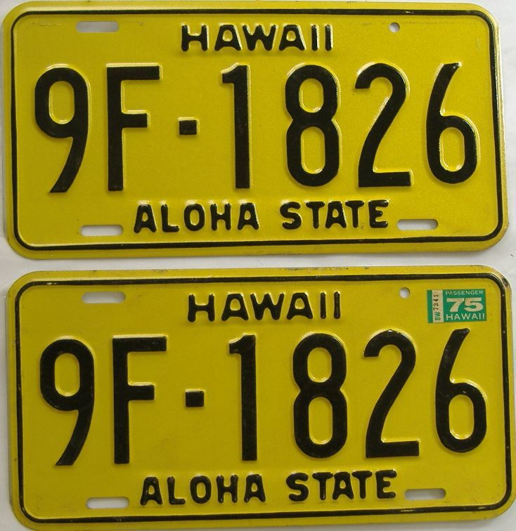 1975 Hawaii (Pair) license plate for sale