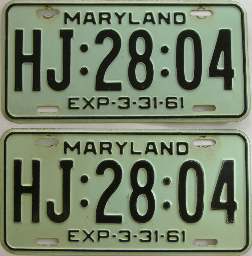 1961 Maryland (Pair) license plate for sale