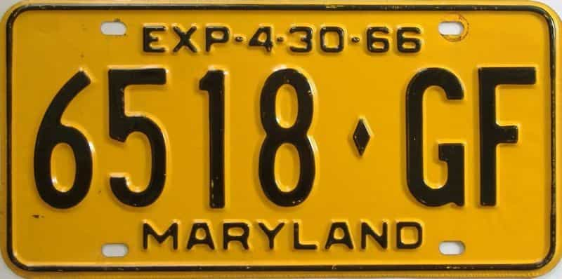 1966 MD (Truck) license plate for sale