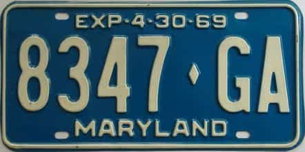 1969 Maryland (Truck) license plate for sale