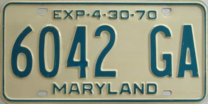 1970 MD (Truck) license plate for sale