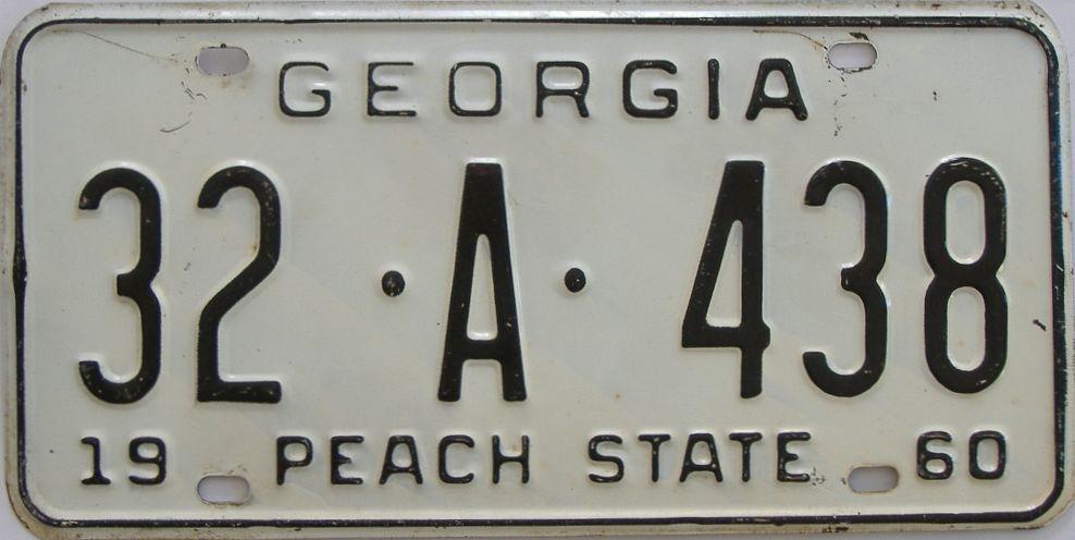 YOM 1960 Georgia license plate for sale