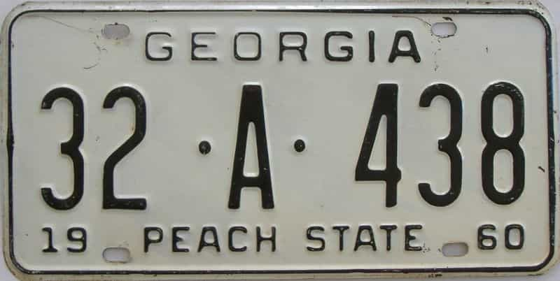 YOM 1960 GA license plate for sale
