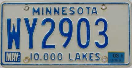 2003 Minnesota (Single) license plate for sale