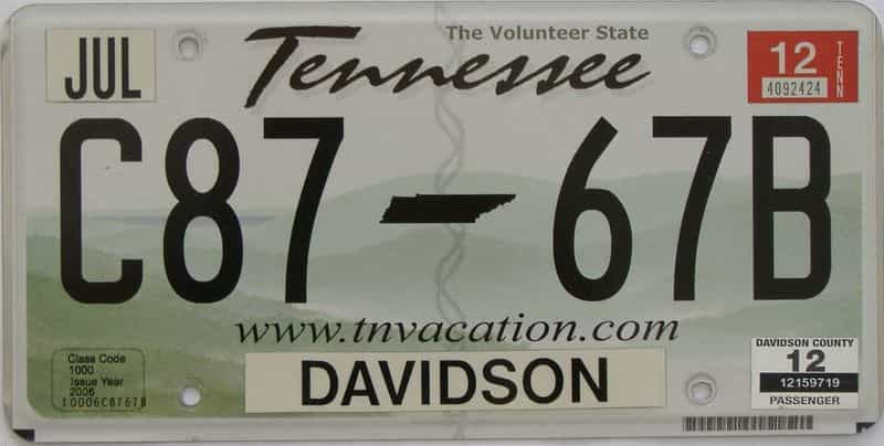 2012 Tennessee license plate for sale