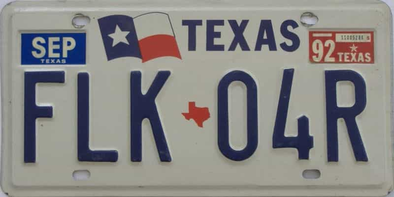 1992 TX (Single) license plate for sale