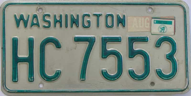 1989 Washington (Single) license plate for sale