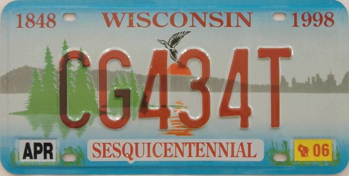 2006 WI (Natural Single) license plate for sale