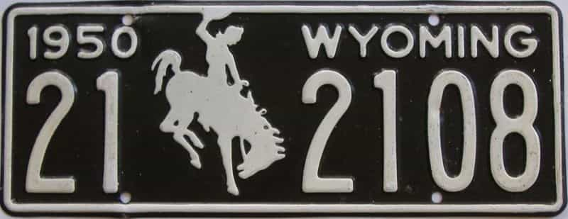 1950 WY (Touched Up) license plate for sale