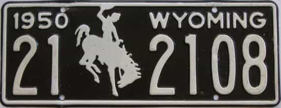 1950 Wyoming (Touched Up) license plate for sale