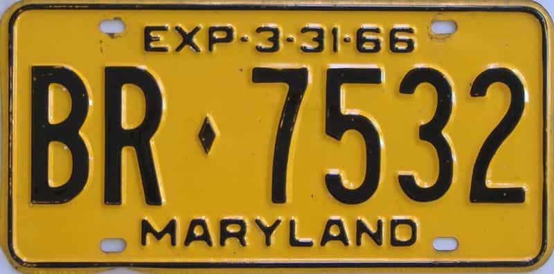 1966 MD (Single) license plate for sale