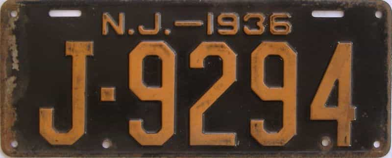 1936 New Jersey (Single) license plate for sale