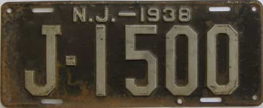 1938 New Jersey (Single) license plate for sale