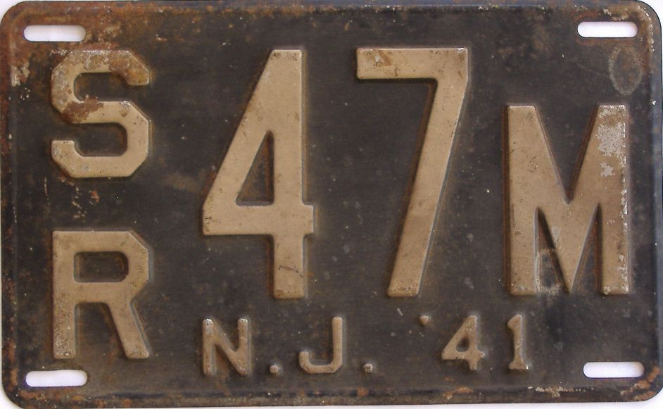 1941 New Jersey (Single) license plate for sale
