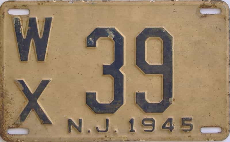 1945 New Jersey license plate for sale