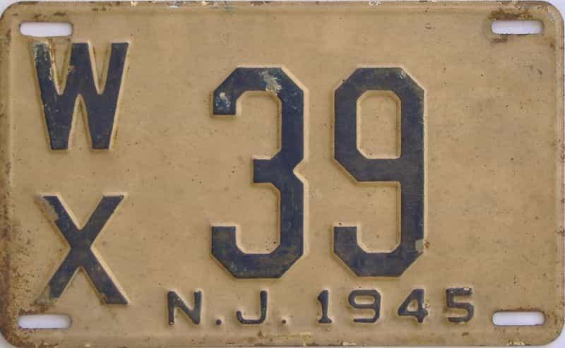 1945 NJ license plate for sale