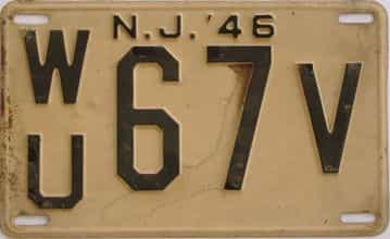 1946 New Jersey (Touched Up) license plate for sale