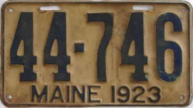 1923 Maine (Single) license plate for sale