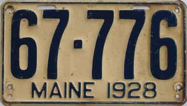 1928 Maine (Single) license plate for sale