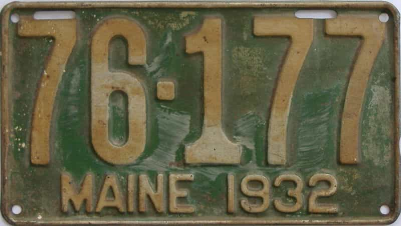 1932 ME (Single) license plate for sale