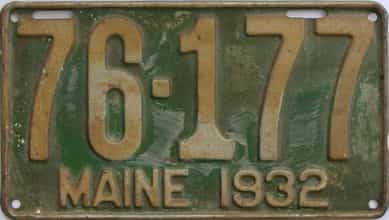 1932 Maine (Single) license plate for sale
