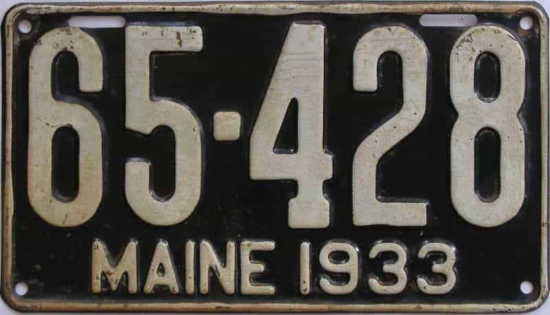 1933 Maine (Single) license plate for sale