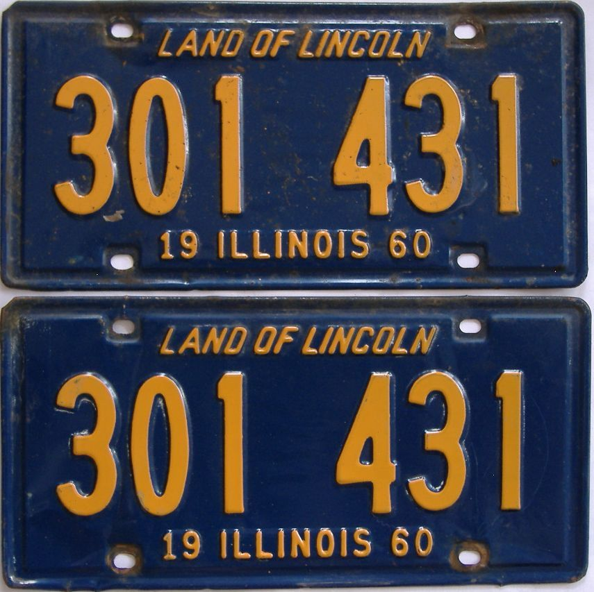 1960 Illinois (Pair) license plate for sale