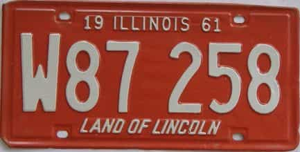 1961 Illinois  (Single) license plate for sale